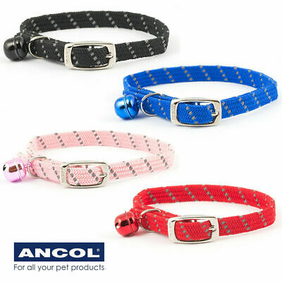 Cat Collar Soft Weave Comfort Reflective Elasticated Stretch Black Red Pink Blue