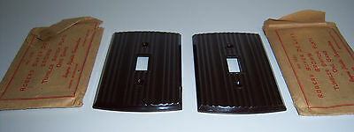 TWO Rogers Deluxe Brown Bakelite Single Gang Light Switch Plate Cover VTG NOS