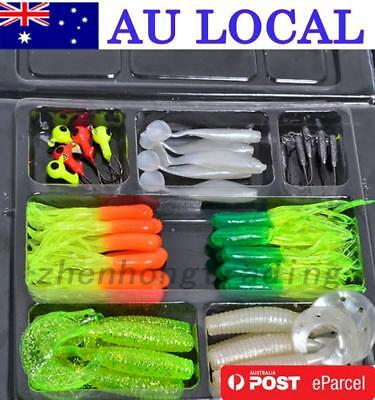 35Pcs Fishing Lures Bait Tackle Soft Small Jig Head Box Sets Simulation