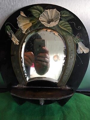 vintage victorian Wooden Horseshoe Wall Small Mirror Flowers Black White