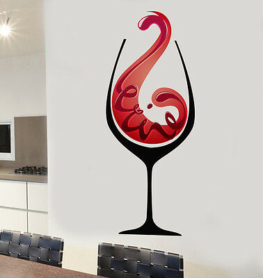 Red Wine Glass Design Mural Wall Stickers Living Kitchen Dining Decal Transfer