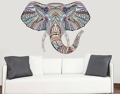 Colourful Patterned Elephants Head Wall Art Vinyl Stickers African Safari Decal