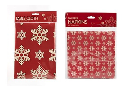 Christmas Red Snowflake Tablecloth & Napkins