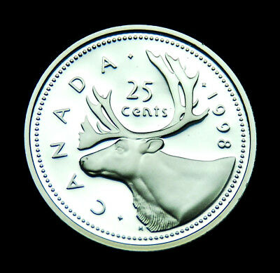 1998 Canadian 25¢ silver proof BU coin from the proof set