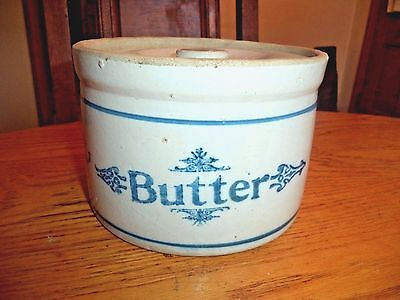 Vintage stoneware butter crock with lid