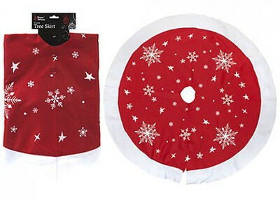 Christmas Red and White Snowflake Printed Tree Skirt with Snowflakes 36""