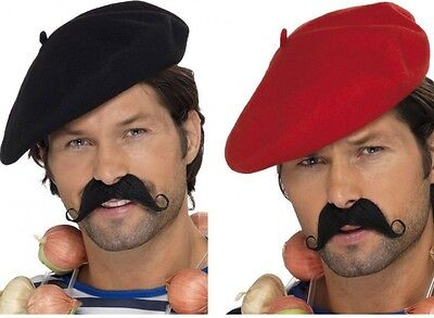 French Beret Mime Artist Fancy Dress Costume Hat Black or Red Cap