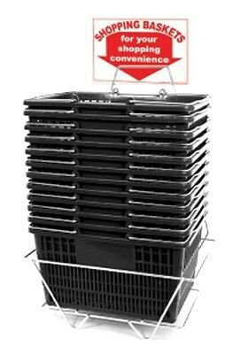 NEW 12 Standard Shopping Baskets - Chrome Handles - Metal Stand and Sign - Black