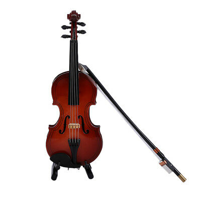MG-250 Mini Musical Ornaments Wooden Craft Miniature Violin for Home Decor EI