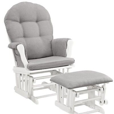 Glider Gliding Chair and Ottoman Soft Comfortable Cushions Removable Padded Arms