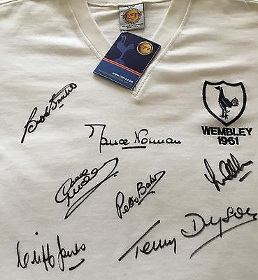 Tottenham Spurs Signed Shirt By 7      1961 Double Fa Cup