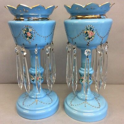 "Pair of Gilt, Painted Soft Blue Lustres 14"" One Repaired"