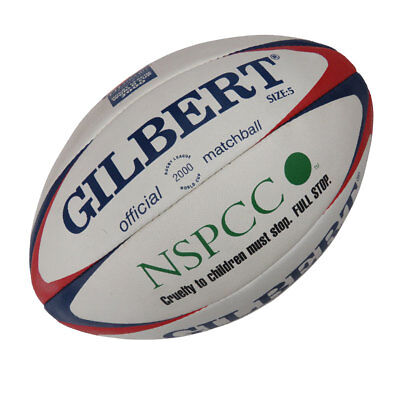 GILBERT Official 2000 RLWC league match rugby ball NSPCC size 5 [red/blue]