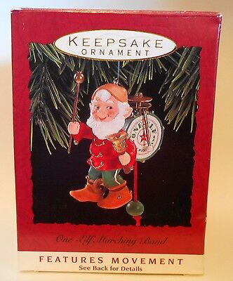 "1993 Hallmark Keepsake Ornament ""One-Elf Marching Band"" Moves MIB"