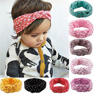 Toddler Girls Baby Kids Turban Knotted Headband Hair Band Dots Elastic Headwear