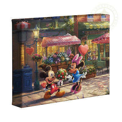 Thomas Kinkade Studios Mickey and Minnie Sweetheart Cafe 8 x 10 Wrapped Canvas