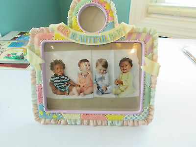 "Our Beautful Baby 5 x 7 Picture Frame  Ceramic  Multicolor  9"" x 7""  EUC"