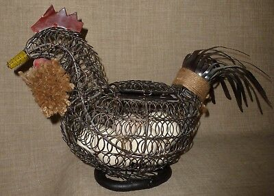 PRIM~Lg. Handsome HAND PAINTED & HAND MADE COILED WIRE & JUTE ROOSTER EGG BASKET