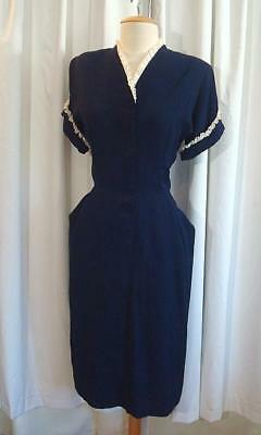 VINTAGE 1940s Navy RAYON CREPE Lace Trim 40s SWING DRESS S
