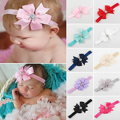 10Pc Newborn Baby Girls Headband Infant Toddler Bow Flower Hair Band Accessories