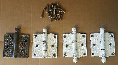 """Antique--East Lake--Door Hinges--Four (4)---3.5"""" By 3.5""""-"""