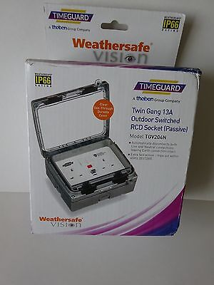 Timeguard Twin Gang 13A Outdoor Rcd Swiched Socket - Tgv204N( New In  Box)