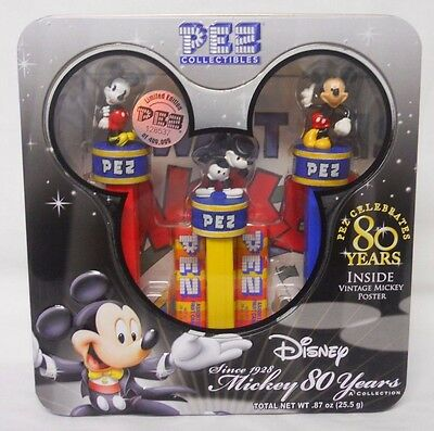 STILL SEALED! 2008 PEZ Collectibles Mickey 80 Years Dispenser Collection Set