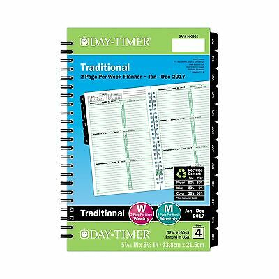 Day-Timer Weekly Refill 2017 Two Page Per Week Wirebound Journal Size 5-1/2 x...