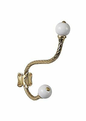 Brass Elegans BE-407PLB Rope Design Double Robe or Coat Hook with Porcelain A...