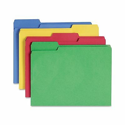 Smead CutLess File Folder 1/3-Cut Tab Letter Size Assorted Colors 100 per Box...