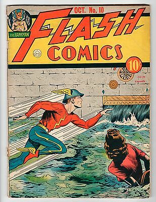 DC - FLASH COMICS #10 - Only Flash Cover By Moldoff - G Oct 1940 Vintage Comic