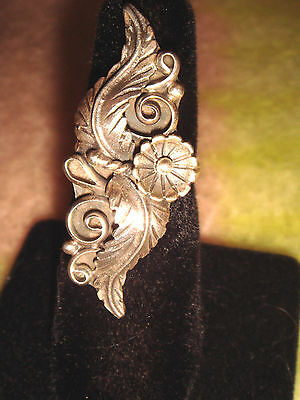 """VINTAGE OLD PAWN HAND-MADE NAVAJO 1 5/8"""" STERLING SILVER 'CORNFLOWER' RING sz 5"""