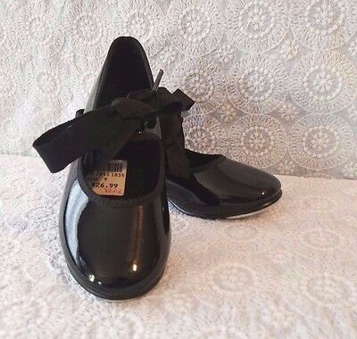 Size 9 Girls Toddler Child Tap Shoes Black Spotlights Barely Ever Used with Tags