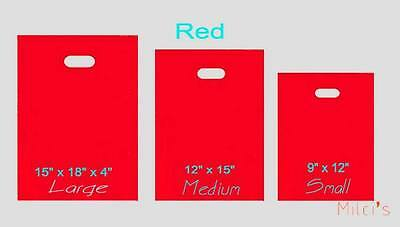 Red Glossy Low-Density Plastic Merchandise Bags Wholesale lot Bags in 3 sizes