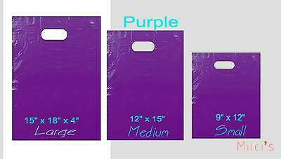 Purple Glossy Low-Density Plastic Merchandise Bags Wholesale Bags in 3 sizes
