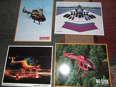 Rare Lot - Vintage Mcdonnell Douglas Set Of 4 Helicopter Photos Pics Apache Ah64