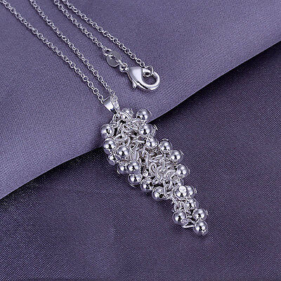 925Sterling Silver Smooth Grapes Pendant Women Pendant Chain Necklace  YP043