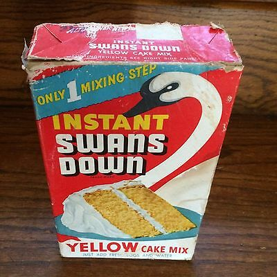 Vintage Store Baking Advertising Classic Swan's Yellow Cake Mix Box Empty
