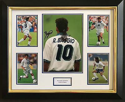 Roberto Baggio Hand Signed Autograph Framed Photo Display Italy Legend.