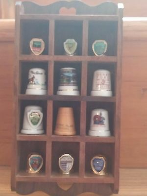 Thimble lot of  12 mixed Michigan themed thimbles with wood display case