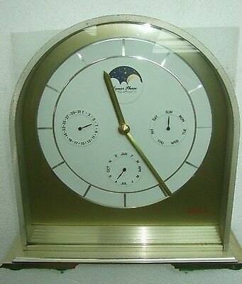 Vintage Sunbeam Annual Calendar Moon Phase Time And Date Mantel Shelf Desk Clock