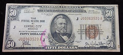 Series 1929 $50 National Currency Kansas City Brown Seal F-1880J