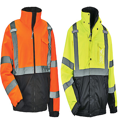 GloWear® 8377 Type R Class 3 Quilted Bomber Jacket Orange and Lime