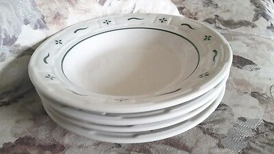 4 WOVEN TRADITIONS HERITAGE GREEN Rimmed Soup Bowls by LONGABERGER