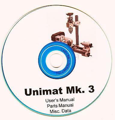 Unimat Mk 3 Lathe Mill Combination user manual in PDF format on CD-ROM