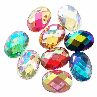 25pcs 10x14mm Flatback Oval Acrylic Crystal Rhinestone Embellishment Gem Jewels