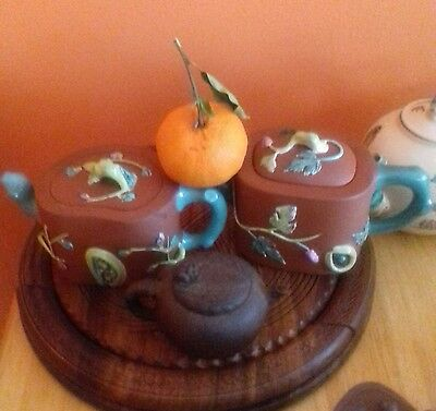 Beautiful  Chinese Yixing Zisha Enamel Teapots and miniature yixing teapot