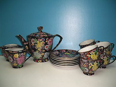 Vintage Chinese Hand Painted 22K Gilded Gold Floral Chintz 16 Piece Tea Set