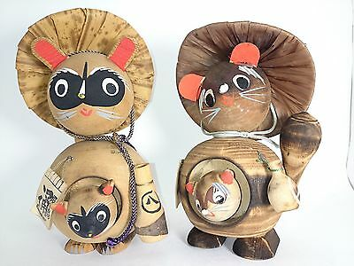KOKESHI Tanuki Raccon Dog Japanese Wood Doll 2pcs k12410