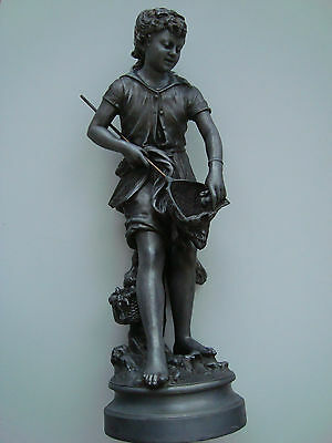 Vintage Antique French Spelter Metal Statue Girl On The Sea Large Figure 21''h.